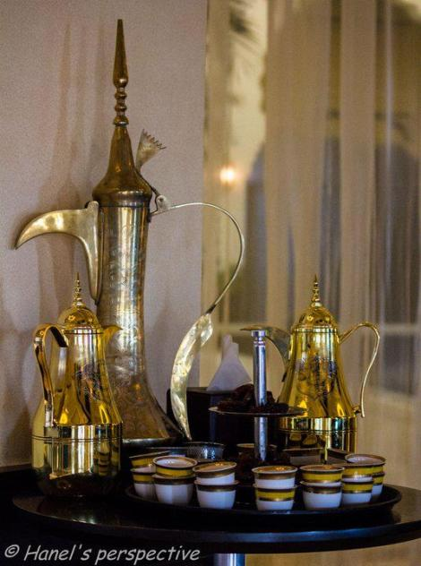"Kehwa or green Arabic Coffee with Almond filled Dates! Almost a Gourmet Entree, Refreshment or ""after-dinner-drink-and-bite"""