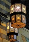 Lamps with square geometric patterns