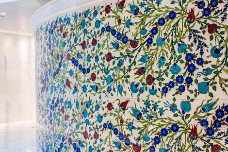 Iznik tile decorations at the women's washrooms