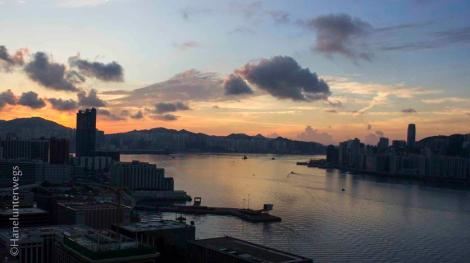 From our room: Good morning Hong Kong, View on Victoria harbour