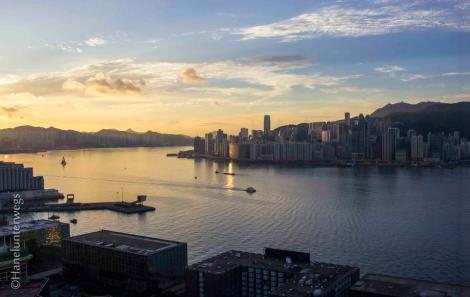 Good morning Hong Kong, View on Victoria harbour